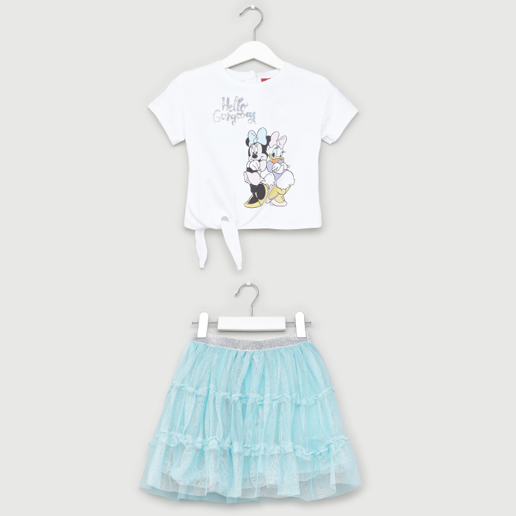 Disney Minnie Mouse Print T-shirt and Textured Skirt Set