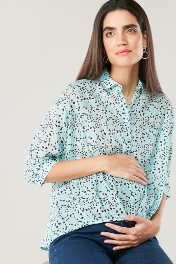 Love Mum Maternity Printed Shirt with 3/4 Sleeves