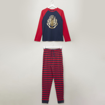 Warner Bros. Harry Potter Printed T-shirt with Striped Jog Pants