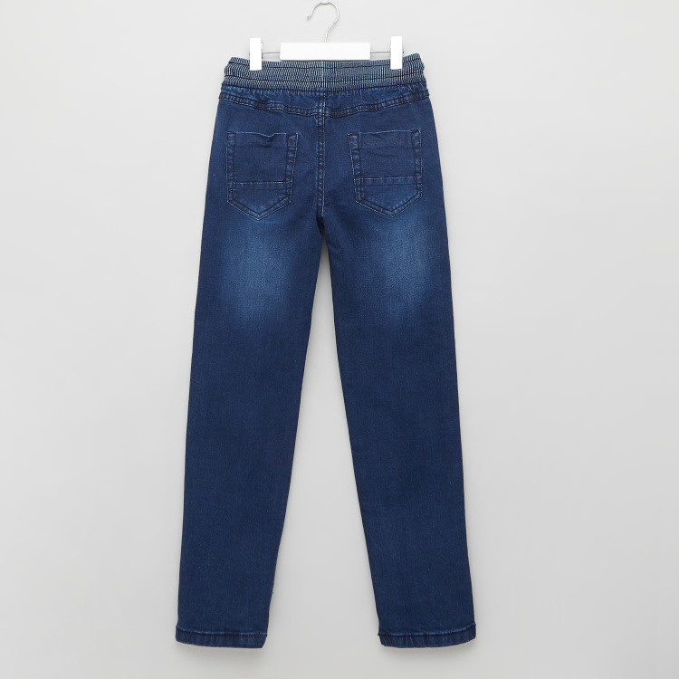 Juniors Textured Jeans with Pocket Detail and Drawstring Closure