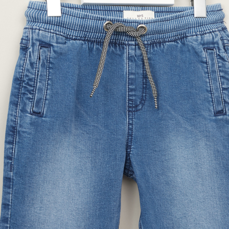 Juniors Textured Denim Shorts with Pockets and Elasticised Waistband