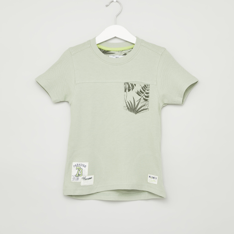 Juniors Patch Applique T-shirt with Short Sleeves