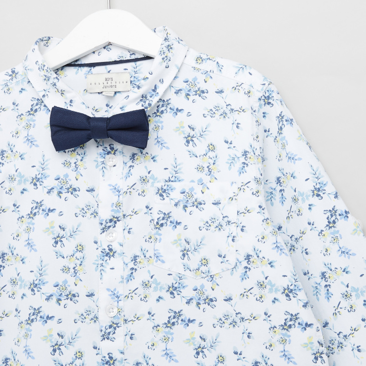 Juniors All Over Floral Print Shirt with Long Sleeves and Bow Tie
