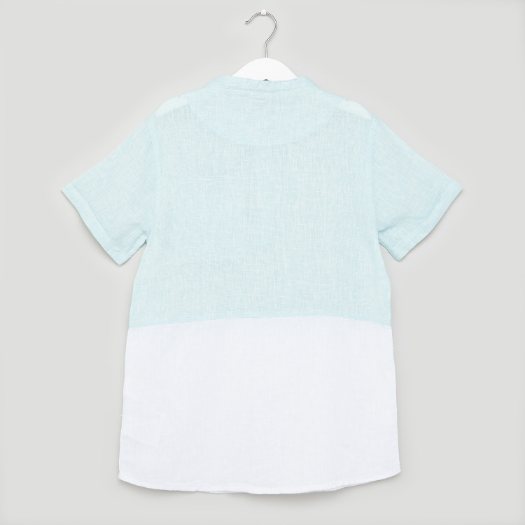 Juniors Cut and Sew Shirt with Henley Neck and Pocket Detail