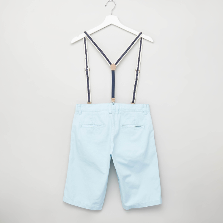 Juniors Solid Shorts with Suspenders