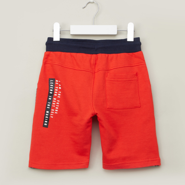 Juniors Typographic Print Shorts with Pocket Detail