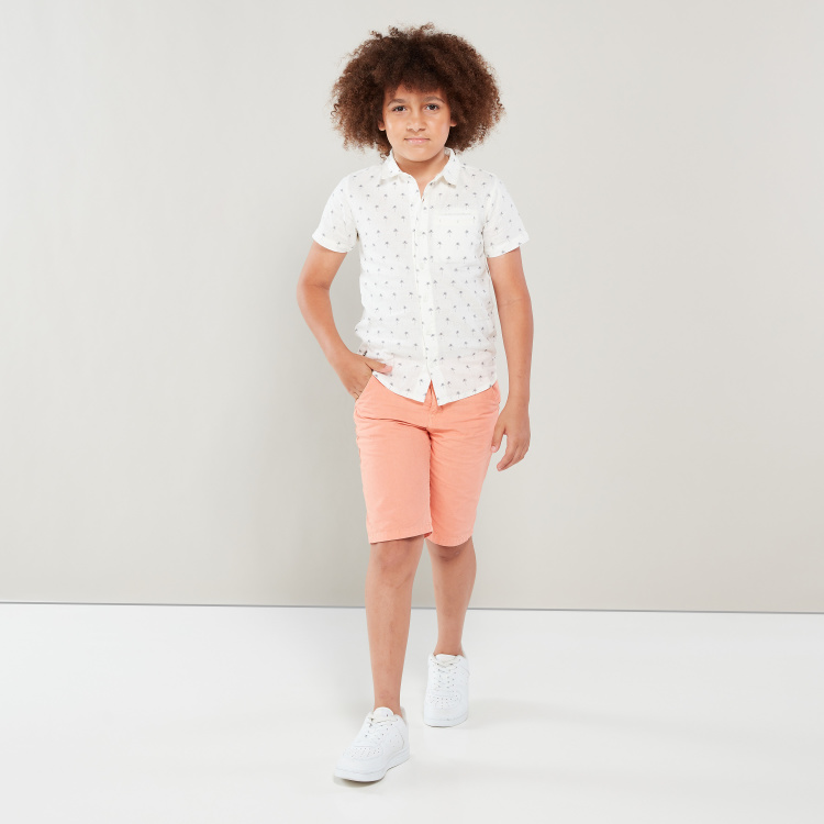 Eligo All-Over Palm Print Shirt with Short Sleeves