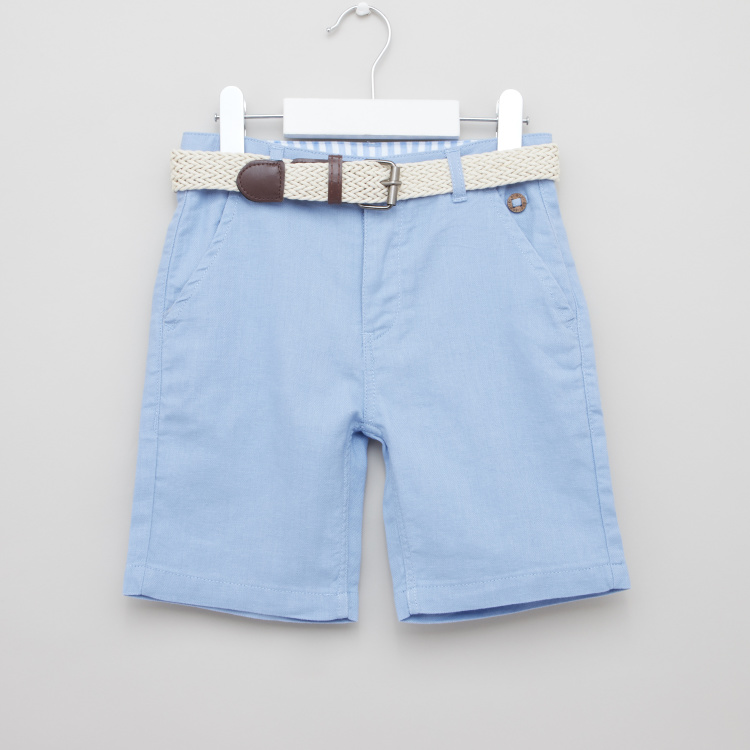 Eligo Solid Shorts with Pockets and Belt