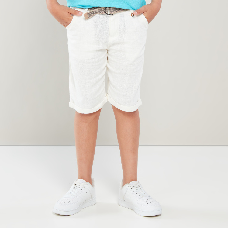 Eligo Textured Pocket Detail Shorts with Belt