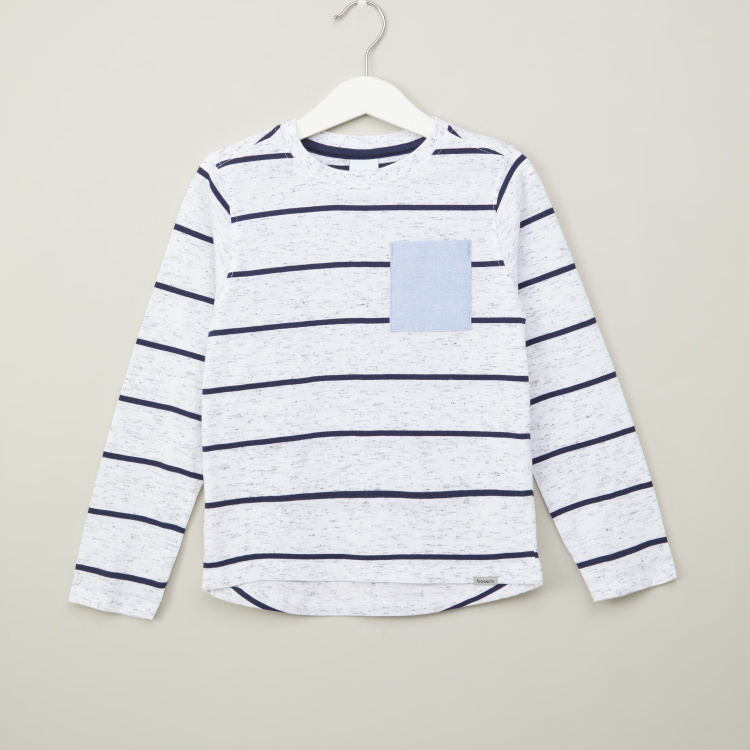 Bossini Striped T-shirt with Round Neck and Long Sleeves
