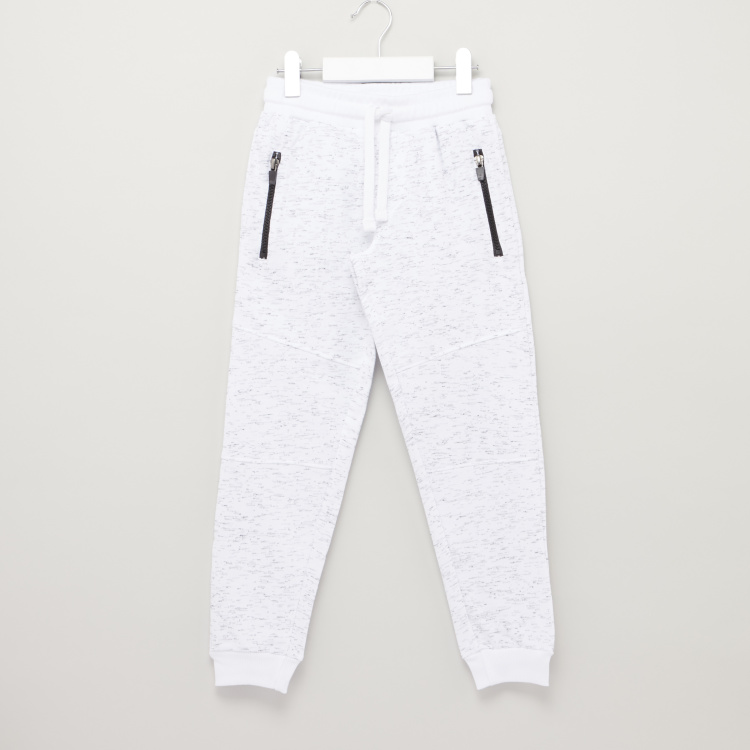 Bossini Textured Jog Pants with Drawstring Closure and Zip Pockets