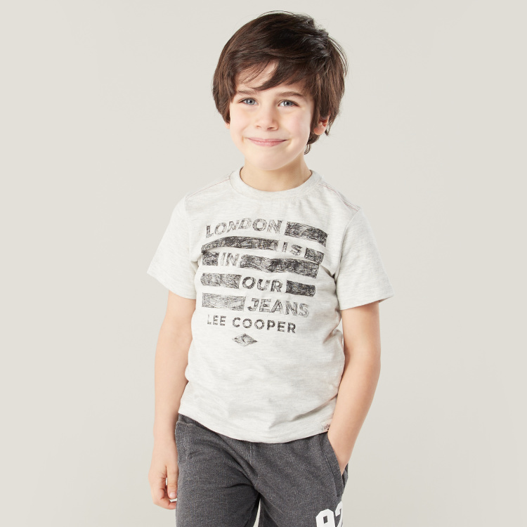 Lee Cooper Graphic Print T-shirt with Short Sleeves