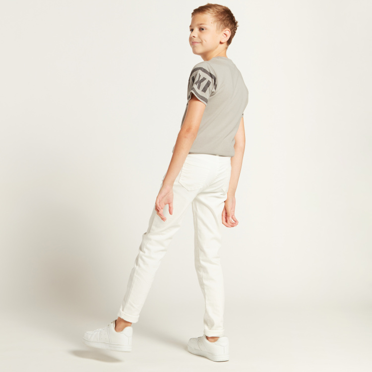 Iconic Solid Jeans with Pocket Detail and Belt Loops