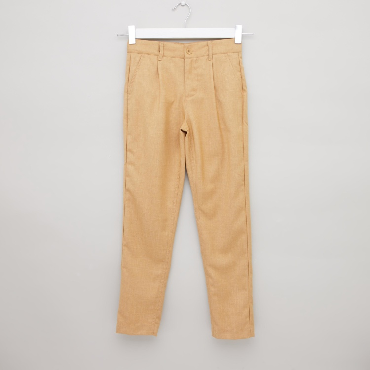 Iconic Solid Pants with Pockets and Button Closure