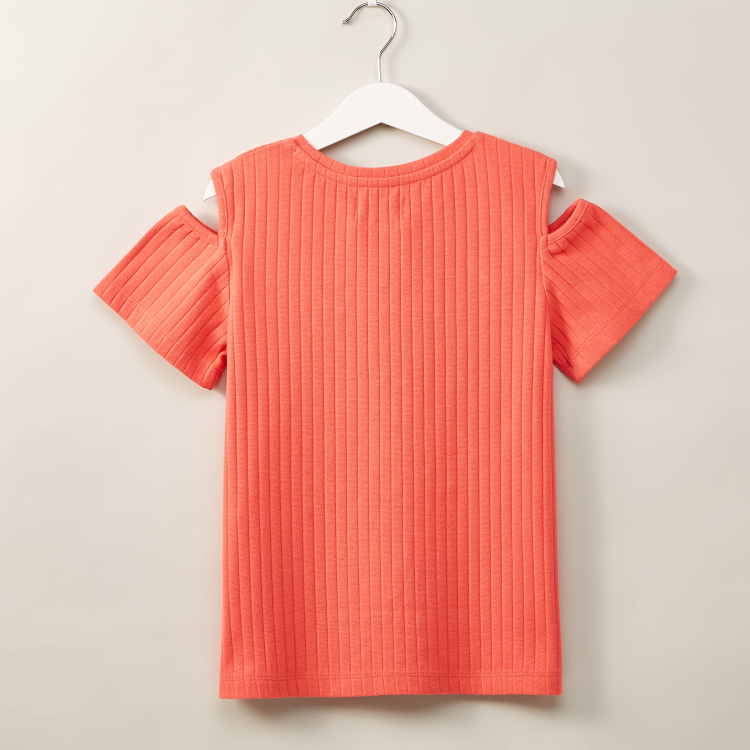 Juniors Cold Shoulder Textured T-shirt with Pearl Detail