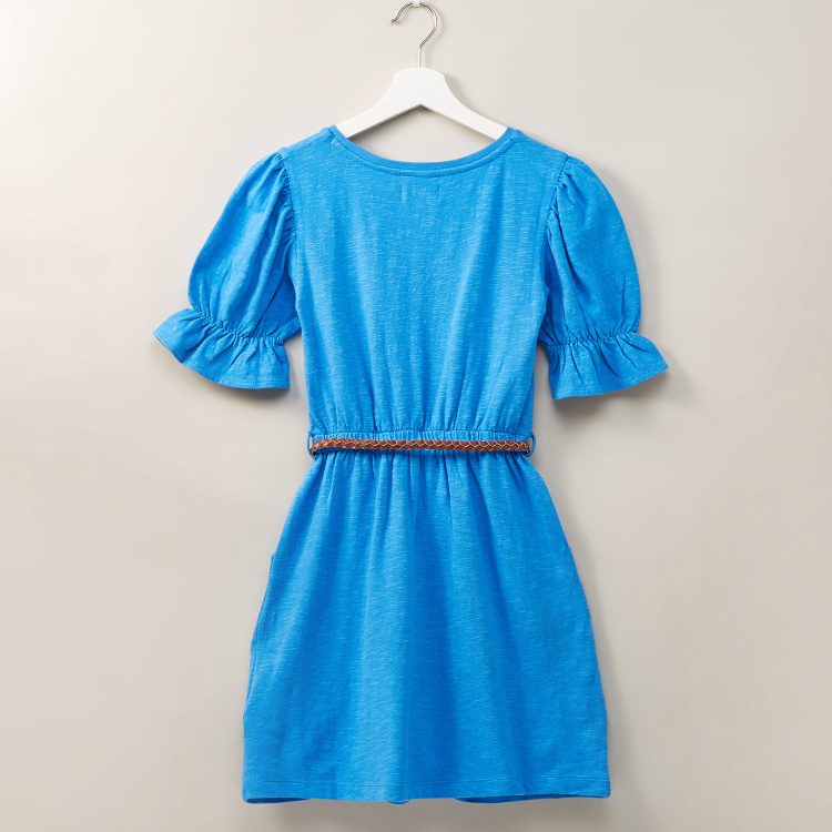 Juniors Solid Dress with Round Neck and Belt