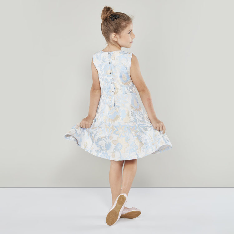 Juniors Printed Sleeveless Dress with Round Neck