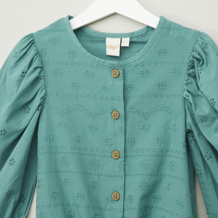 Eligo Solid Round Neck Buttoned Blouse with 3/4 Sleeves