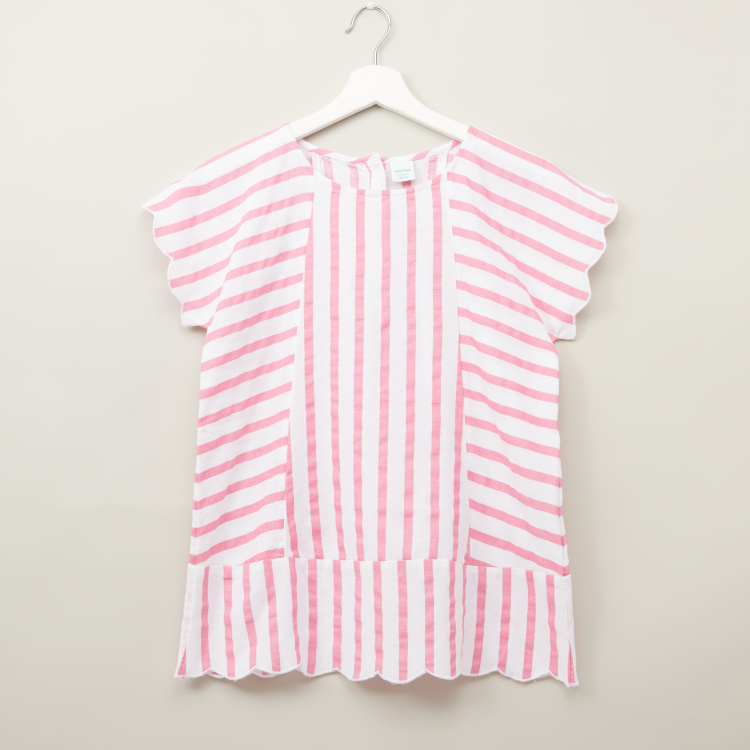 Bossini Striped Top with Round Neck and Short Sleeves