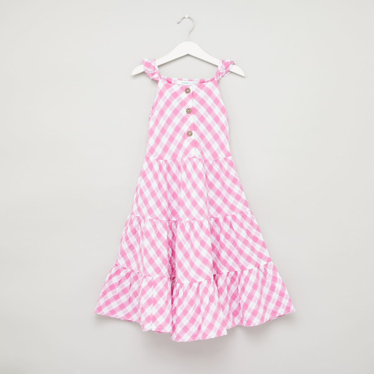Bossini Checked Sleeveless Dress with Straps