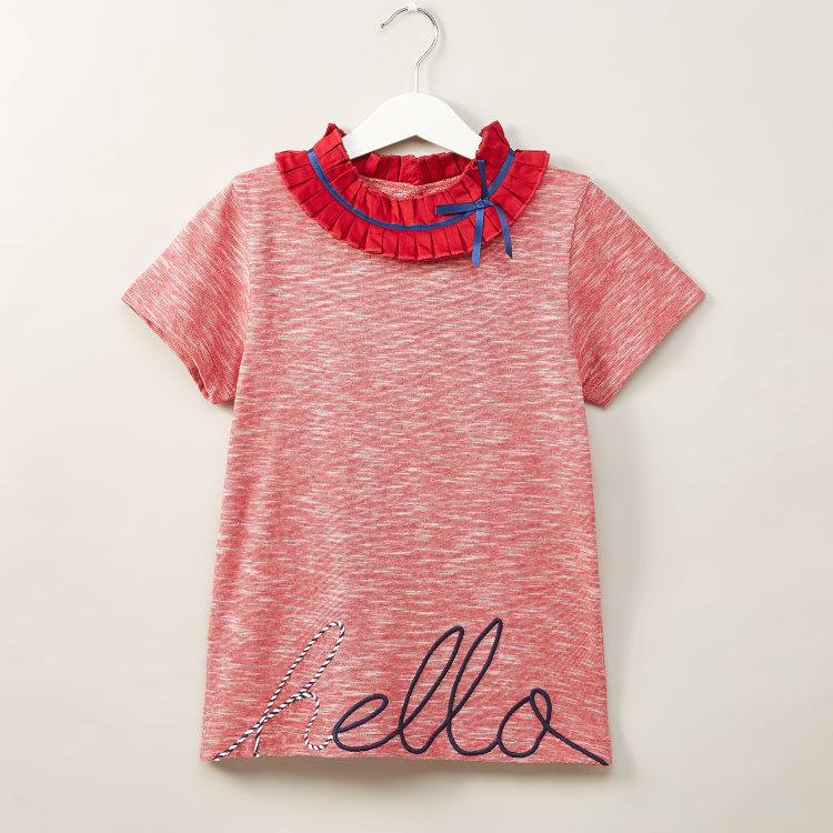 Iconic Embroidered T-shirt with Round Neck and Short Sleeves