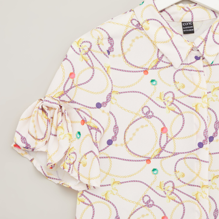 Iconic Abstract Print Shirt with Short Sleeves