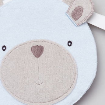 Juniors Textured Bear Face Bib with Button Closure