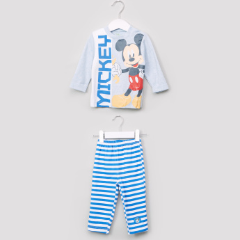Mickey Mouse Printed Long Sleeves T-Shirt and Pyjama Set