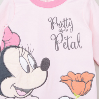 Minnie Mouse Embroidered Applique Detail Closed Feet Sleepsuit