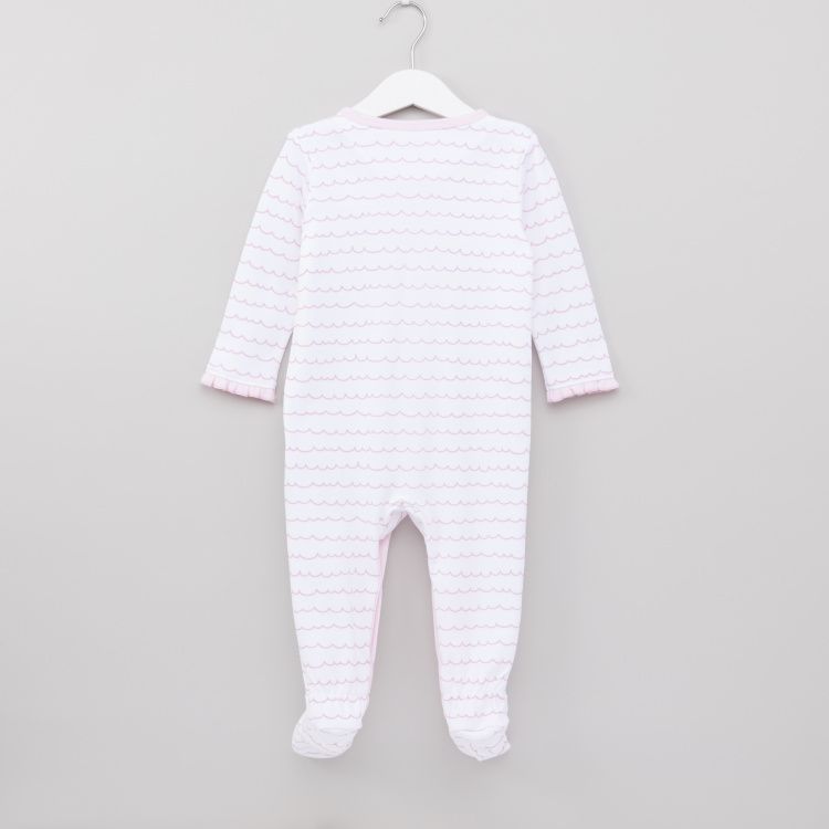 Juniors Printed Closed Feet Sleepsuit with Round Neck and Long Sleeves