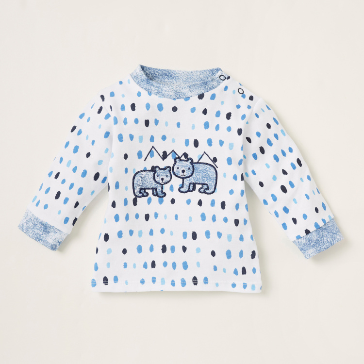 Juniors Printed Long Sleeves T-shirt and Pyjama Set