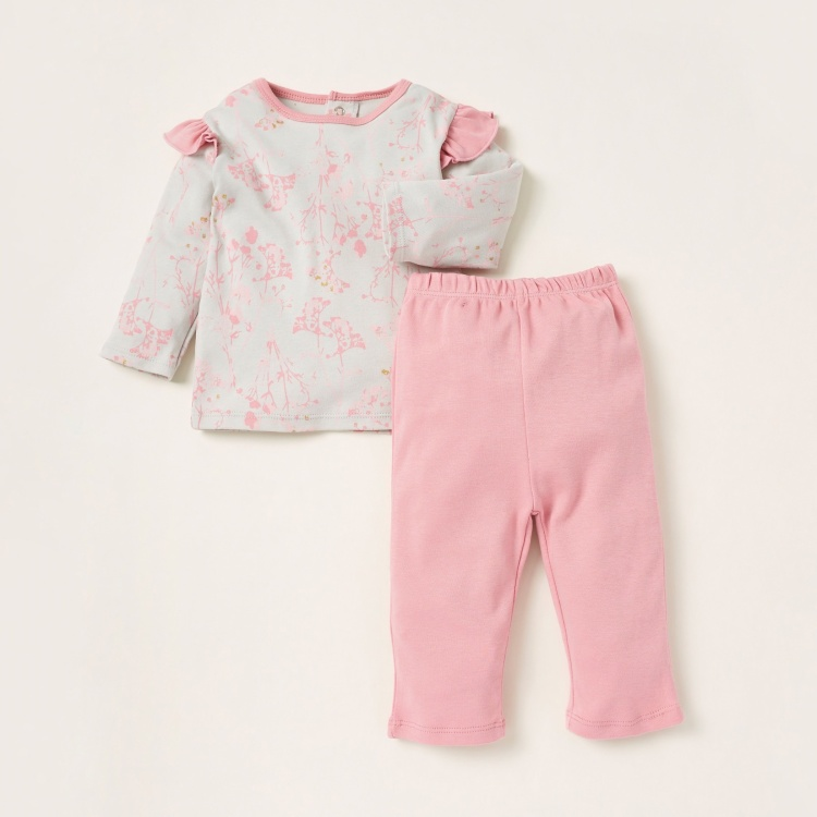 Juniors Floral Print Top and Solid Pyjama Set