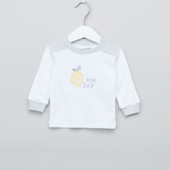 Juniors Embroidered Long Sleeves Top and Printed Pyjama Set