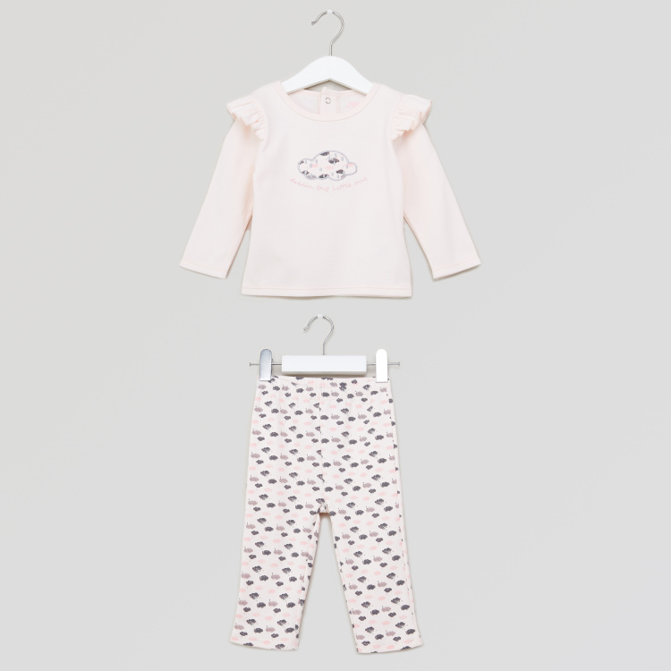 Juniors Printed Top and Pyjamas Set