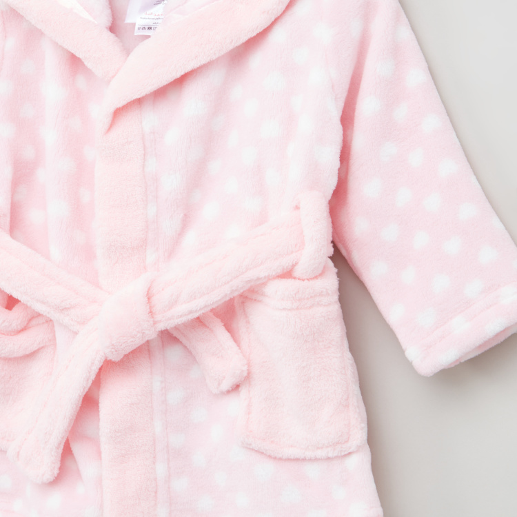Juniors Printed Bathrobe with Long Sleeves and Hood