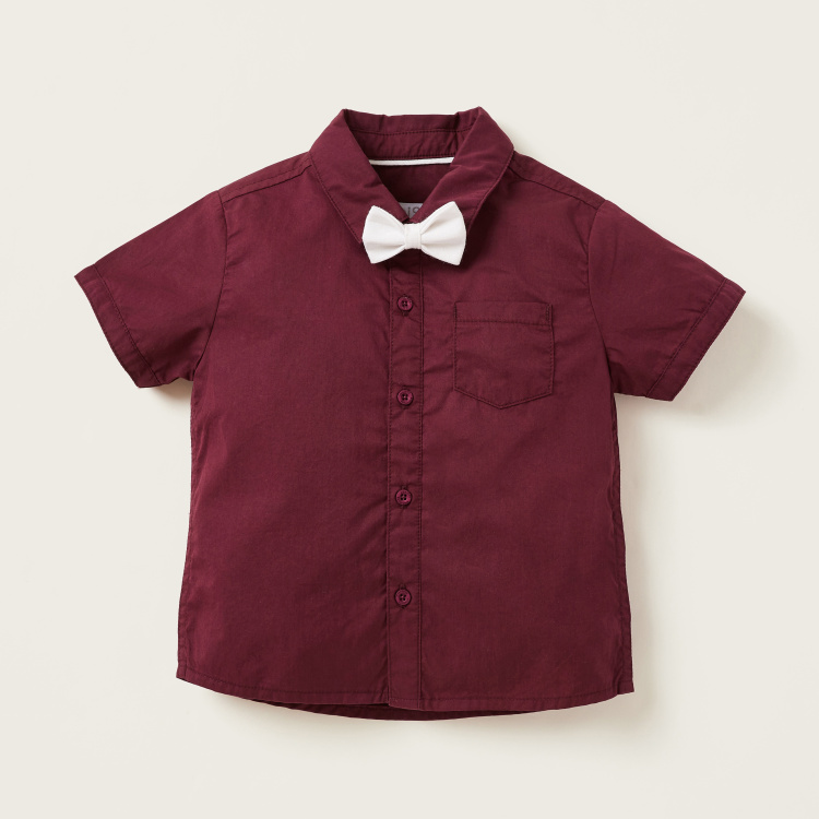 Juniors Solid Shirt with Bow Applique and Shorts with Suspenders Set