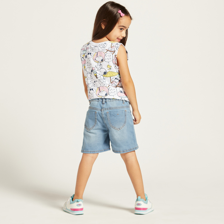 Juniors Solid Denim Shorts with Pocket Detail and Belt Loops