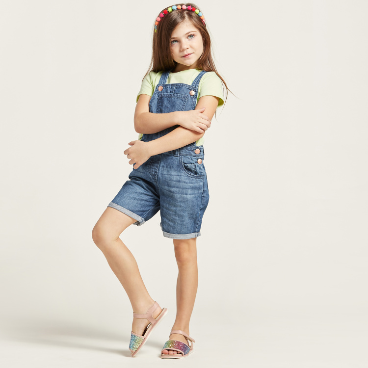 Juniors Solid Dungarees with Pockets
