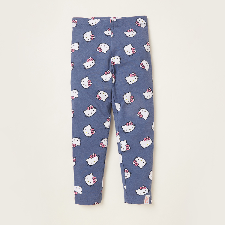 All-Over Hello Kitty Print Leggings with Elasticised Waist - Set of 2