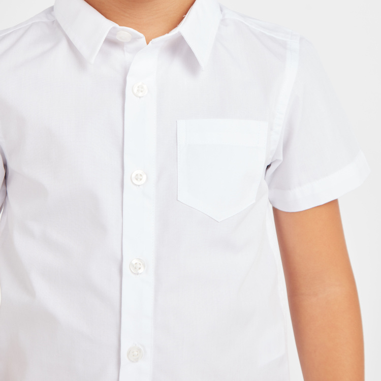 Juniors Solid Shirt with Short Sleeves and Pocket Detail