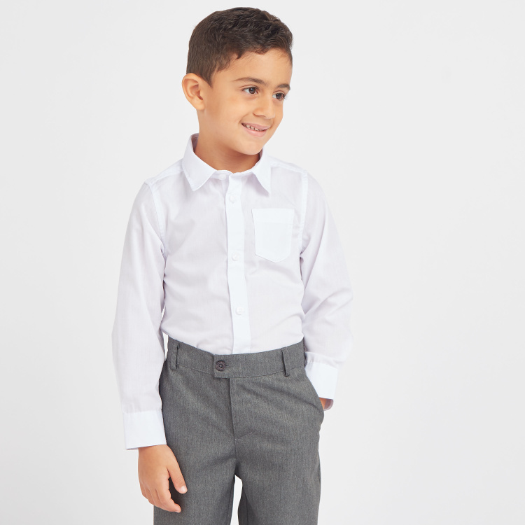 Juniors Solid Shirt with Long Sleeves and Pocket Detail