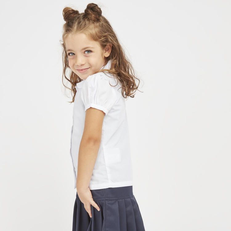 Juniors Solid Shirt with Peter Pan Collar and Puff Sleeves