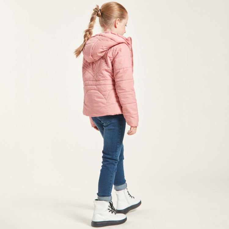 Juniors Solid Padded Jacket with Long Sleeves and Hood