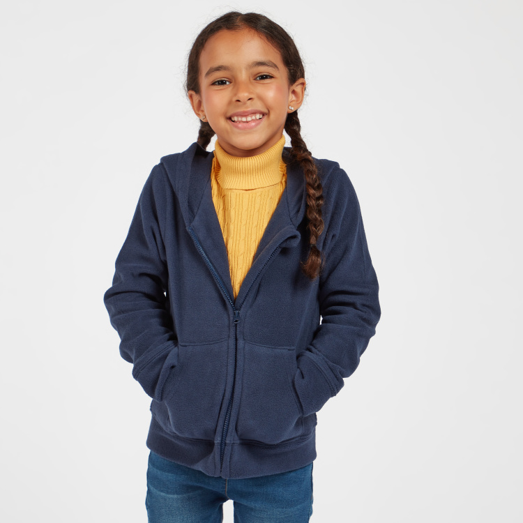 Juniors Solid Hoodie Jacket with Long Sleeves and Pockets