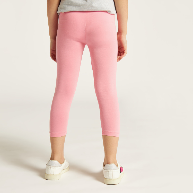 Juniors Solid 3/4 Leggings with Elasticated Waistband