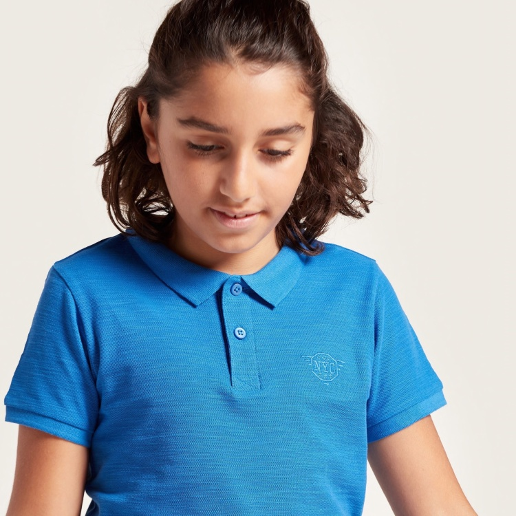 Juniors Polo T-shirt with Short Sleeves and Embroidery