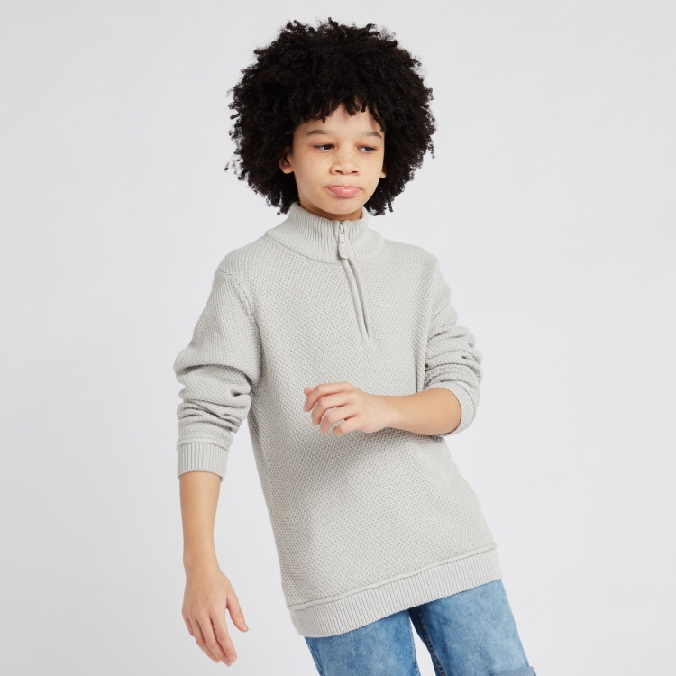 Juniors Textured Sweater with Long Sleeves and Zip Detail