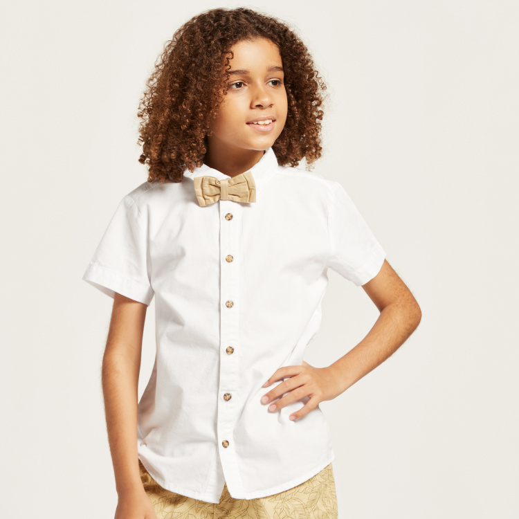 Juniors Solid Bow Detailed Shirt and Printed Shorts Set