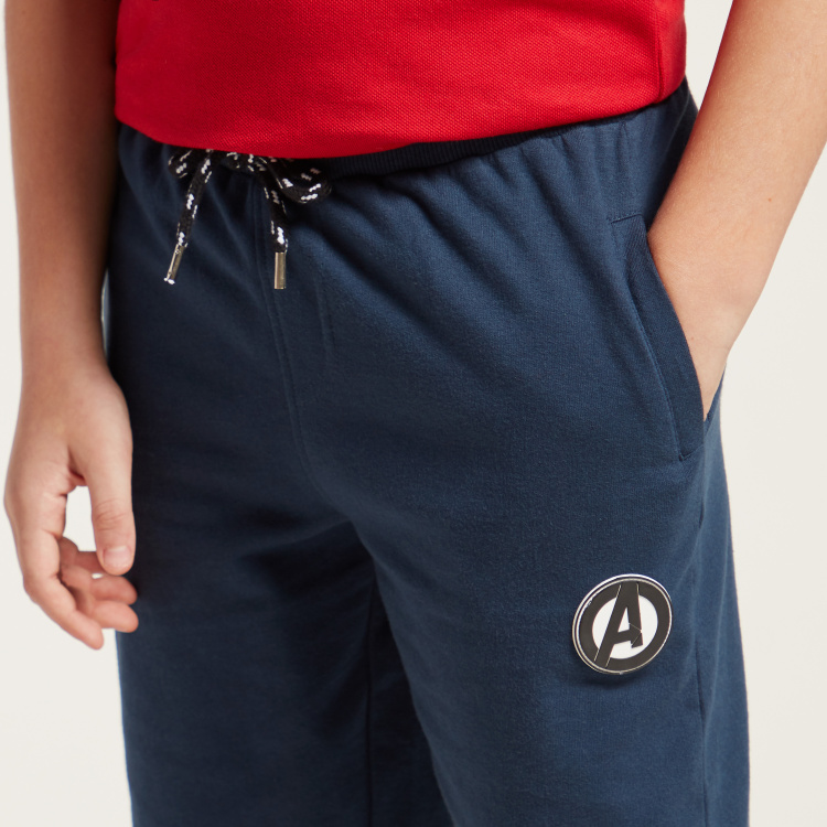 Avengers Graphic Print Shorts with Pockets and Drawstring Closure