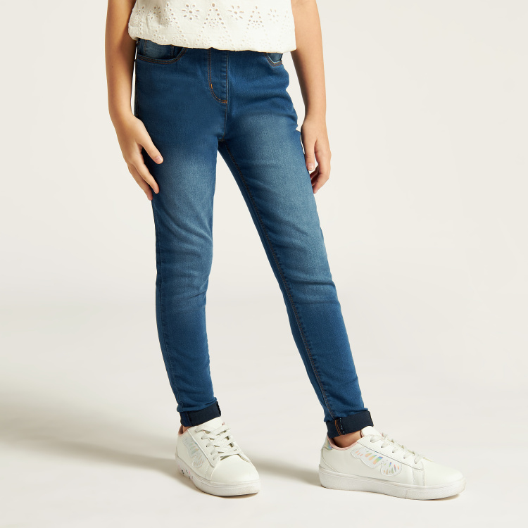 Juniors Textured Jeggings with Pockets and Elasticised Waistband